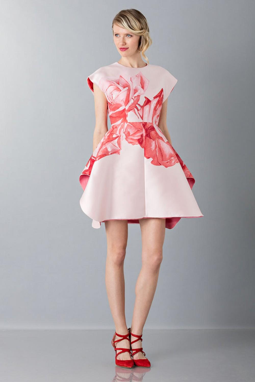 Mini abito in duchesse floreale