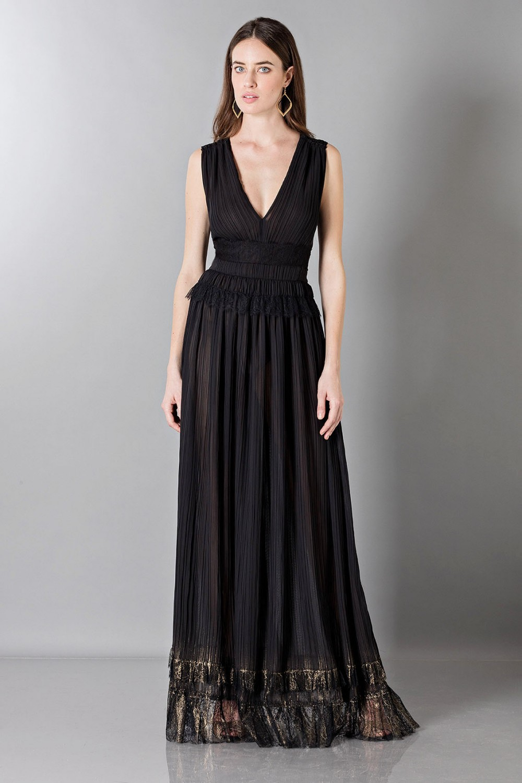 Vestito nero lungo con scollo a V