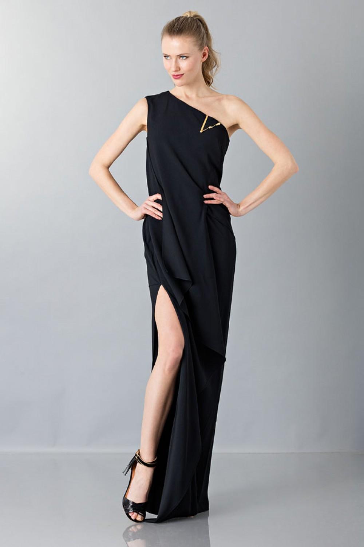 Vestito lungo monospalla nero