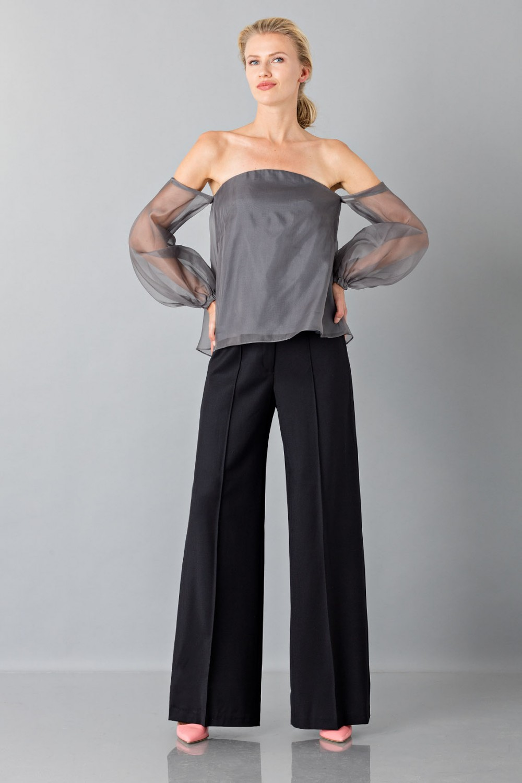 Camicia  off shoulder grigio antracite